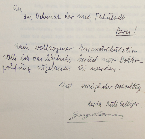 Ruth Selbiger Brief